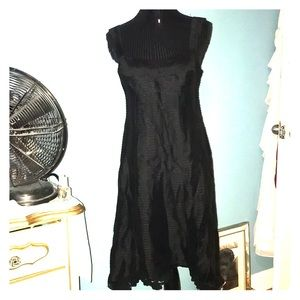 Nanette Lenore black striped dress lace hem